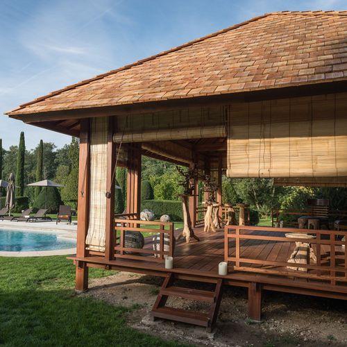 gazebo in legno / tetto in tegole / tetto in legno / per bar