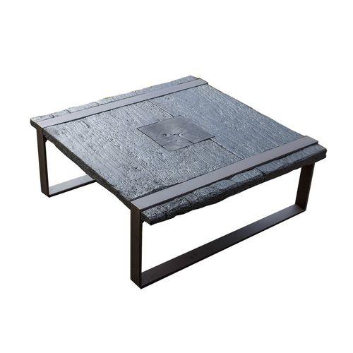tavolino basso in stile rustico / in frassino / in acciaio / quadrato