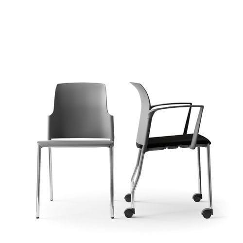 sedia da conferenza imbottito / con braccioli / impilabile / con rotelle