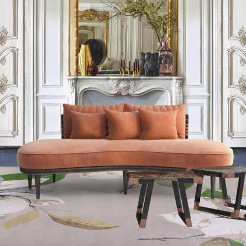 divano a semicerchio / moderno / in velluto / in cotone
