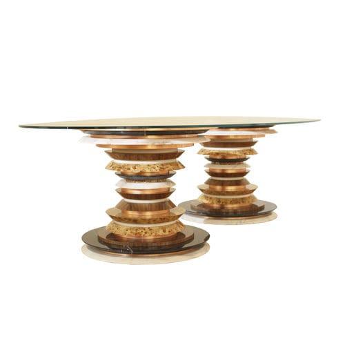 tavolo da pranzo moderno / in vetro / con supporto in noce americano / con supporto in marmo