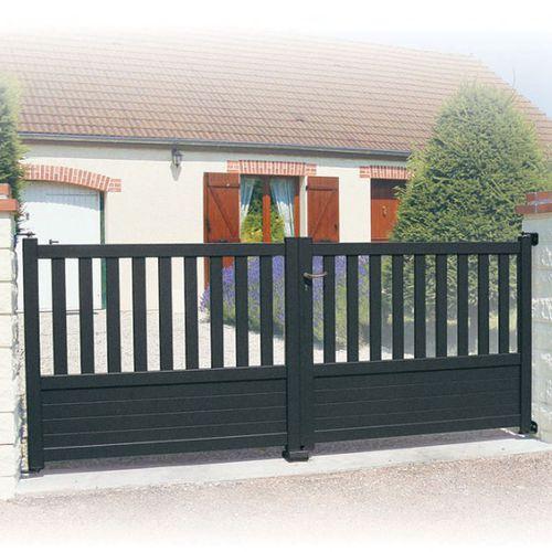 cancello battente / in alluminio termolaccato / a sbarre / a pannello