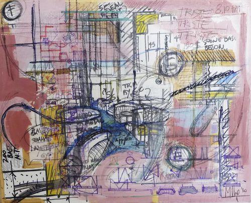 quadro acrilico / su carta / misto / astratto