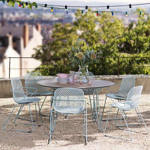 tavolo design originale / in acciaio / con supporto in HPL / tondo