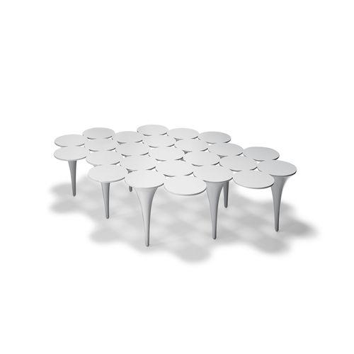 tavolino basso moderno / in acciaio laccato / da interno / bianco
