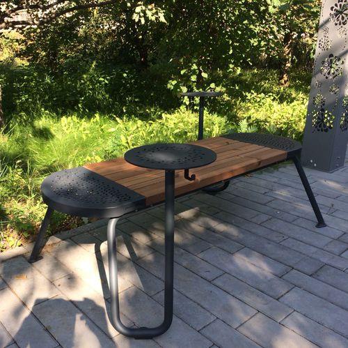 panca pubblica / moderna / in pino / in acciaio galvanizzato