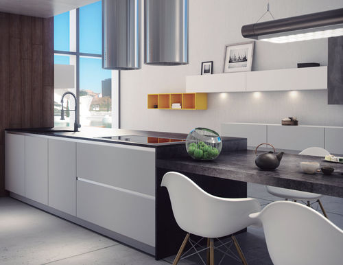 cucina moderna / in MDF / polimerica / con isola