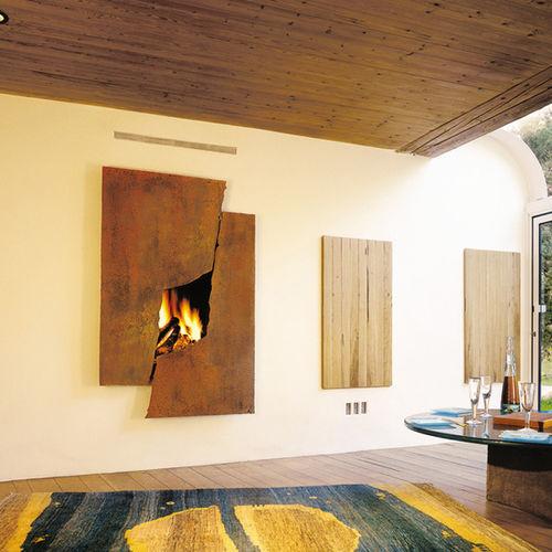 camino a legna / design originale / con focolare chiuso / da incasso