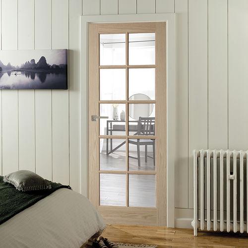 porta da interni / battente / in rovere bianco / vetrata