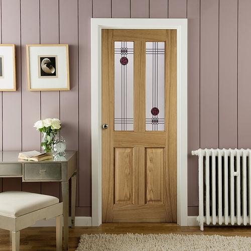 porta da interni / battente / in rovere bianco / decorativa