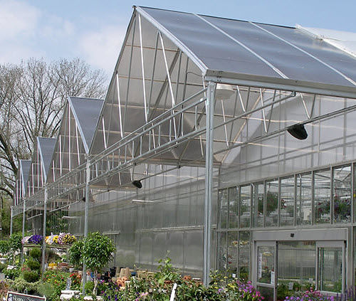 serra contract / da giardinaggio / a campata multipla / in policarbonato