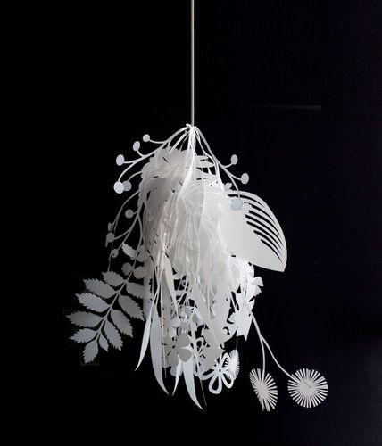 lampada a sospensione / design originale / in tessuto / da interno