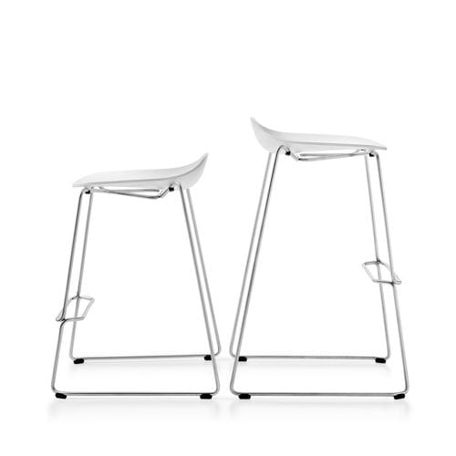 sedia alta design / imbottita / con poggiapiedi / a slitta