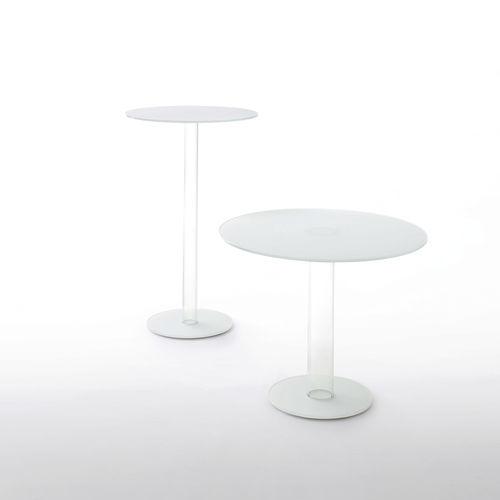 tavolo da bistrot moderno / in vetro temprato / in vetro laccato / tondo
