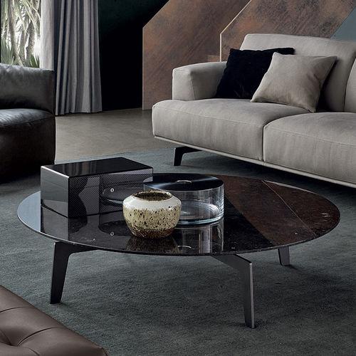 tavolino basso moderno / legno / in marmo / con supporto in lamiera di acciaio