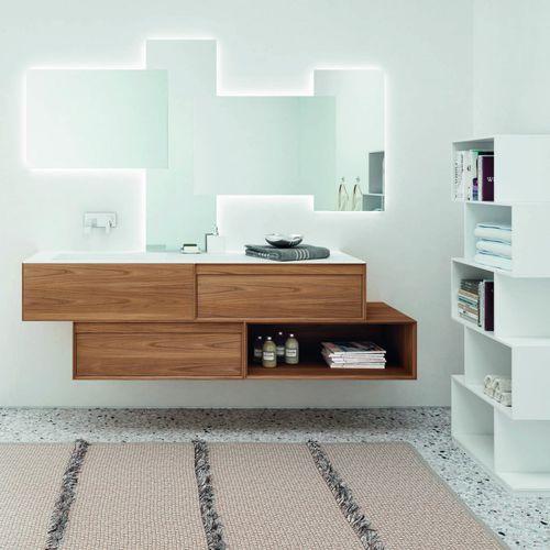 mobile lavabo doppio / sospeso / da appoggio / in quercia