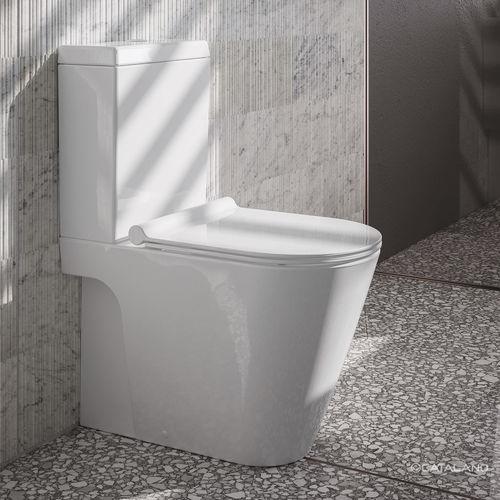 WC da appoggio / monoblocco / in ceramica / con placca di scarico