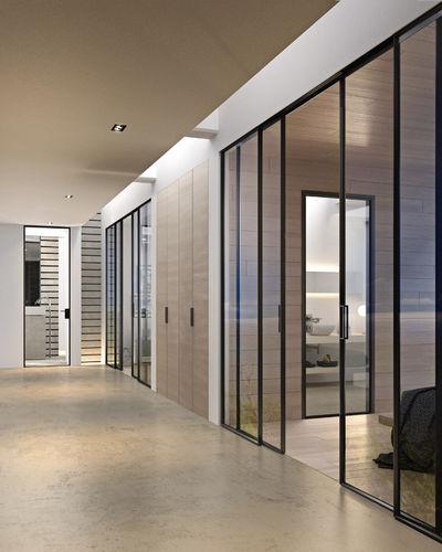 porta vetrata / da interni / scorrevole / in alluminio