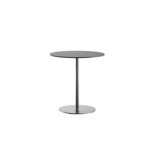 tavolo da bistrot moderno / in acciaio / in cristallo / tondo