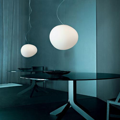 lampada a sospensione / moderna / in metallo laccato / in vetro soffiato