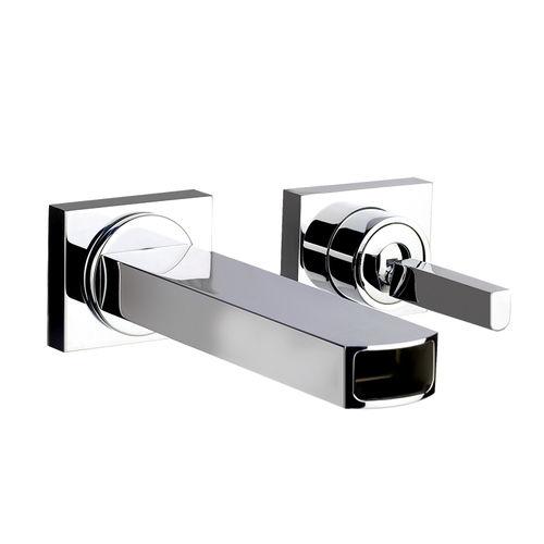 miscelatore per lavabo / da parete / in metallo cromato / in acciaio