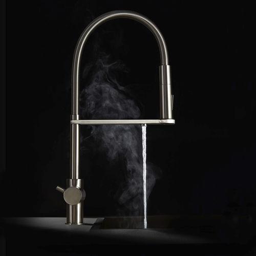 miscelatore doppio comando per acqua frizzante / da appoggio / in metallo cromato / in acciaio inox