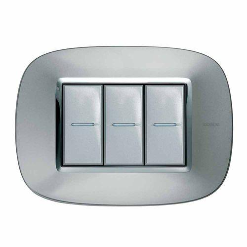 interruttore a pulsante / ad incasso / triplo / in acciaio inox