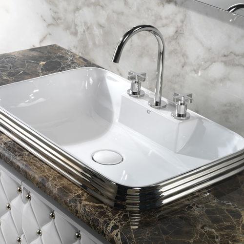 lavabo da incasso / rettangolare / in ceramica / in platino