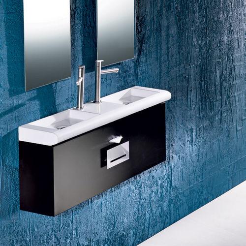 mobile lavabo doppio / sospeso / in legno / moderno