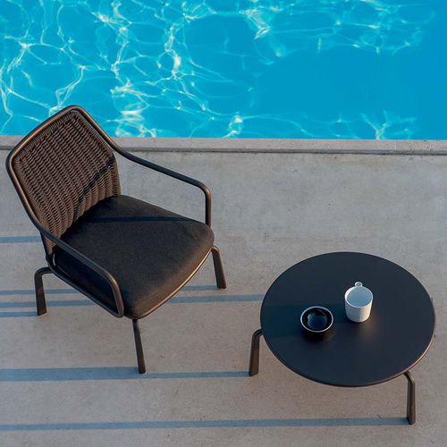 tavolino basso moderno / in acciaio / tondo / da giardino