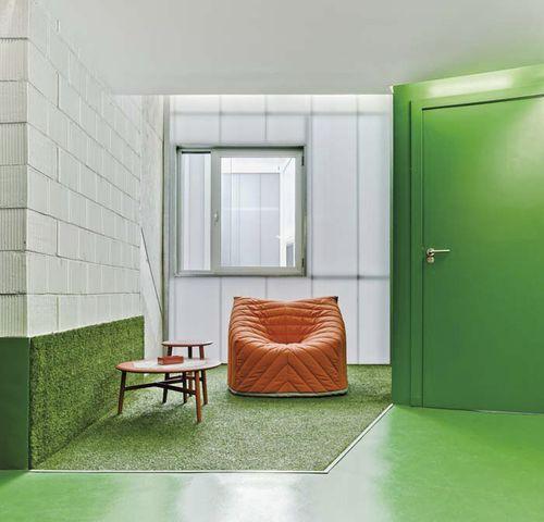 poltrona moderna / in tessuto / gialla / arancione