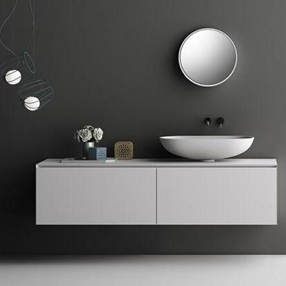 mobile lavabo sospeso / in Corian® / moderno / con cassetti