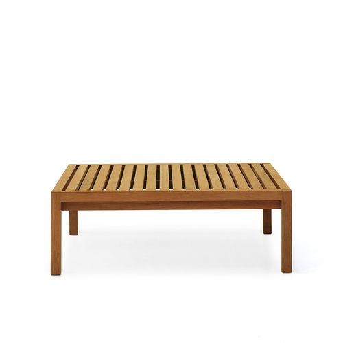 tavolino basso moderno / in teak / quadrato / da interno