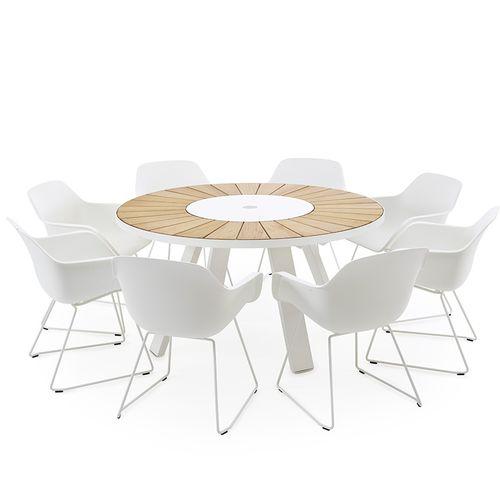 tavolo moderno / in acciaio galvanizzato / in HPL / con supporto in acciaio galvanizzato