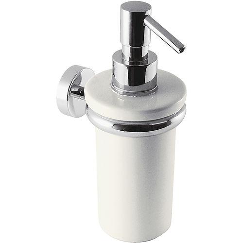 distributore di sapone contract / da parete / in metallo cromato / in ceramica