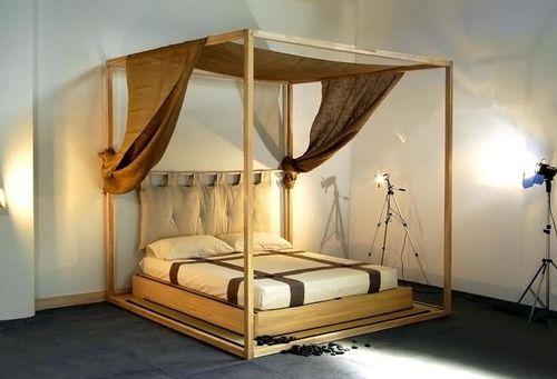 letto a baldacchino / matrimoniale / moderno / in legno