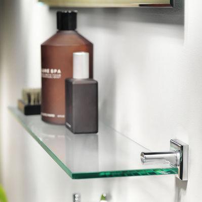 mensola / moderno / in ottone cromato / in vetro