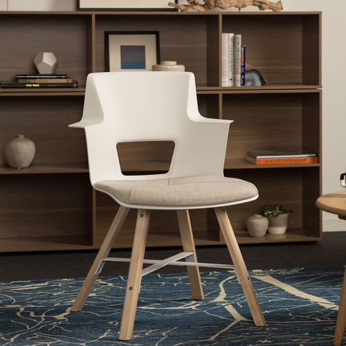 sedia moderna / imbottita / con braccioli / in acero