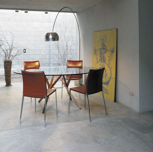 tavolo moderno / in wengé / in vetro / in acciaio