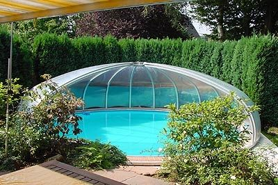 copertura per piscina alta / telescopica / in alluminio / ad azionamento manuale