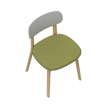sedia moderna / imbottita / legno / in plastica