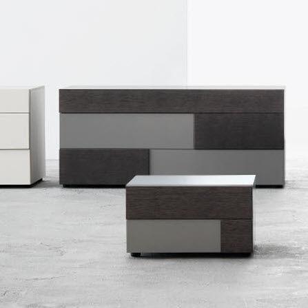 comodino moderno / in quercia / in legno laccato / rettangolare