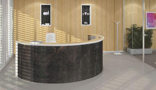 banco reception a semicerchio / in pietra naturale / in legno