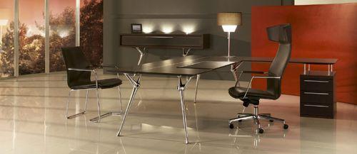 scrivania direzionale / in quercia / in acciaio / moderna