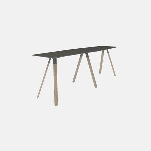 tavolo alto moderno / in legno / con supporto in acciaio / rettangolare
