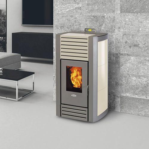 stufa-caldaia a pellet / in acciaio / moderna / ventilata