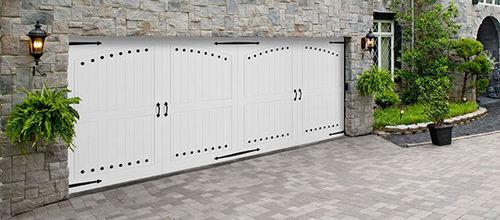 porta battente per garage / in vinile / in alluminio / in acciaio