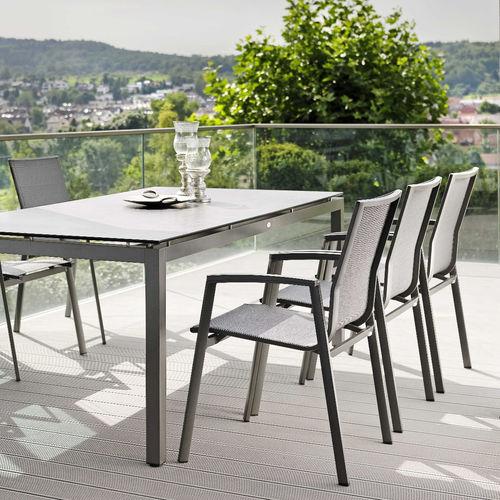 sedia da giardino moderna / con braccioli / in alluminio termolaccato / in Textilene®