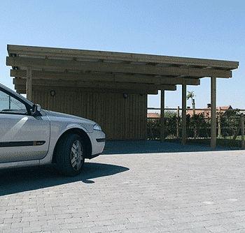 tettoia per posto-auto in legno / contract