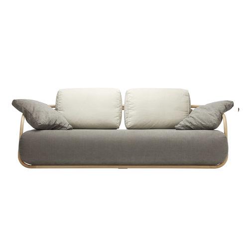 divano moderno / in pelle / in legno massiccio / in legno curvato